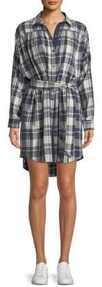 ATM Anthony Thomas Melillo Long-Sleeve Button-Front Plaid Cotton Shirtdress