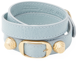 Balenciaga  Classic Buckle Leather Wrap Bracelet