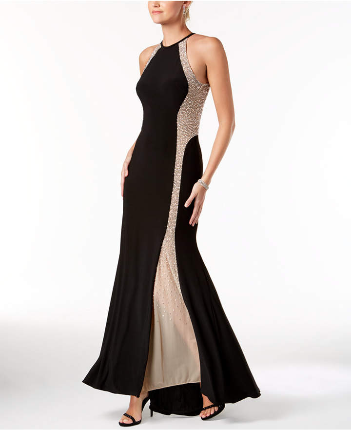 Xscape Evenings Caviar-Beaded Illusion Gown - ShopStyle