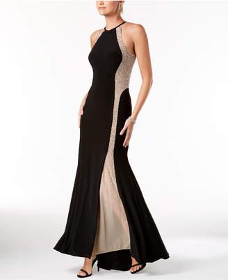 Xscape Evenings Caviar-Beaded Illusion Gown