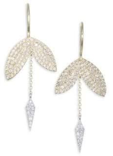 Meira T Diamond, 14K Yellow& White Gold Earrings