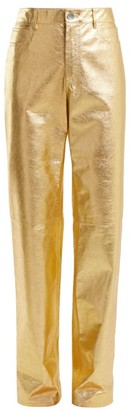 Calvin Klein Straight Leg Leather Trousers - Womens - Gold