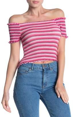 Modern Designer Striped Off-the-Shoulder T-Shirt