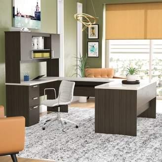 Latitude Run Barts U-Shape Executive Desk with Hutch