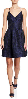 Halston V-Neck Textured Floral Jacquard Tulip-Skirt Dress