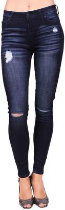 Celebrity Pink CelebrityPink Jeans Women Middle Rise Distressed Skinny Jeans with Knee Cut