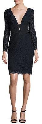 Diane von Furstenberg Viera Lace Long-Sleeve V-Neck Cocktail Dress, Deep Night/Black $498 thestylecure.com