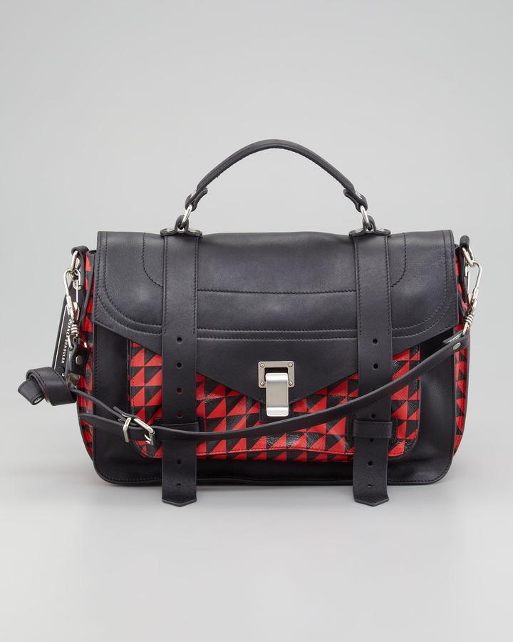 Proenza Schouler PS1 Triangle-Print Medium Satchel Bag, Red/Black