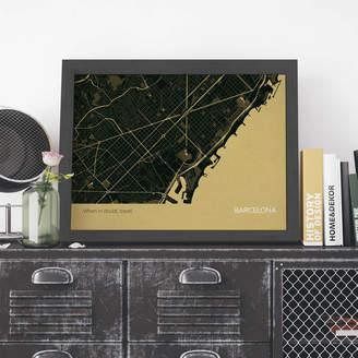 Maps International Personalised Barcelona City Street Map Print