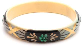 Lulu Frost Vintage Art Deco Painted & Carved Celluloid Bangle Bracelet with Crystals