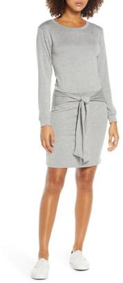 Fraiche by J Tie Front Long Sleeve Jersey Dress