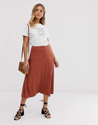 New Look button through midi skirt in brick clay