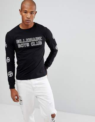 Billionaire Boys Club Long Sleeve T-Shirt With City Scape Back Print In Black