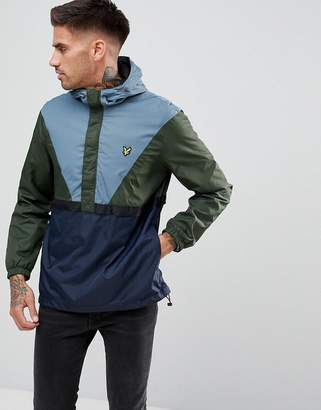 Lyle & Scott Overhead Windbreaker In Green/Blue/Navy