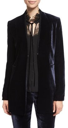 Elie Tahari Antoinette Long High-Sheen Blazer Jacket $478 thestylecure.com