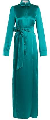 Galvan - Laguna Tie Waist Silk Satin Dress - Womens - Dark Green