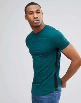 Asos DESIGN Longline Muscle Fit T-Shirt With Curve Hem and Gusset Contrast