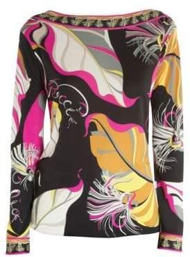 Emilio Pucci Leaf Print Boatneck Top