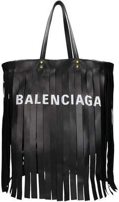 Balenciaga Laundry Logo Fringe Cabas S Bag