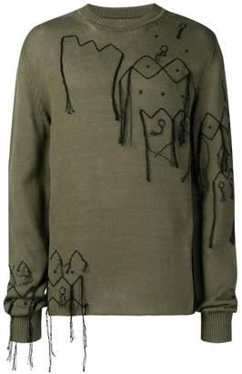 Jil Sander stitch detail slouchy sweater