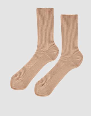 BEIGE Nude Label Cotton Crew Sock in