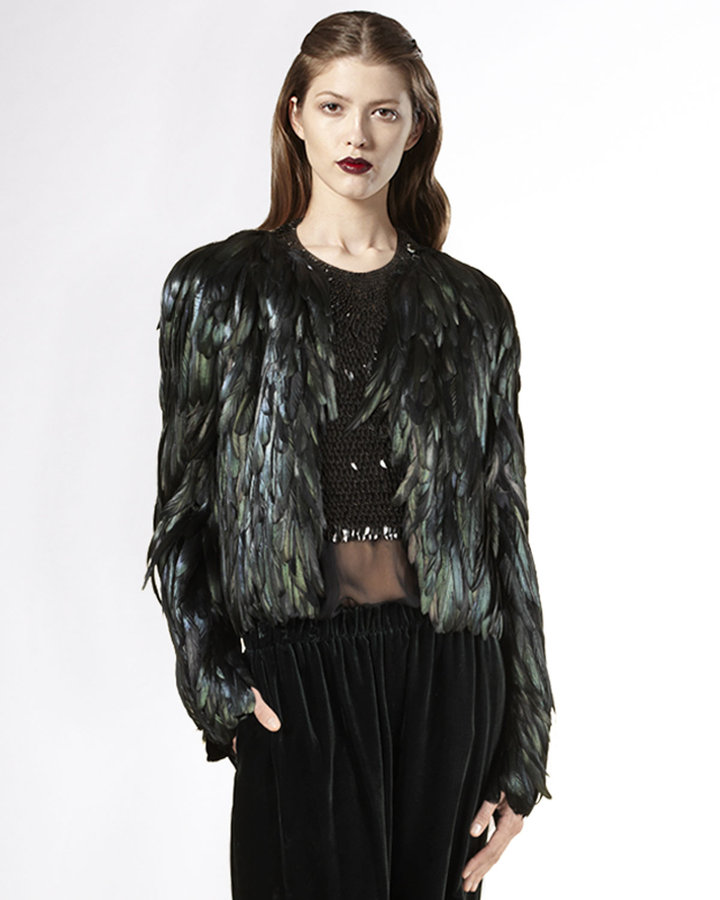 Gucci Iridescent Rooster-Feather Jacket