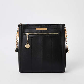 River Island Black zip front messenger bag
