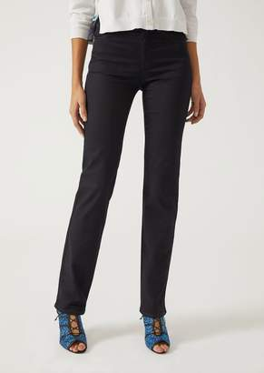 Emporio Armani J75 Straight Cut Slim Fit Jeans In Stretch Denim