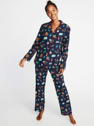 Old Navy Patterned Flannel Pajama Set for Women