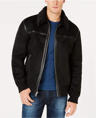 GUESS Men's Faux-Shearling Bomber Jacket