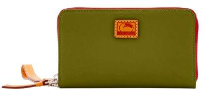 Dooney & Bourke Patterson Leather Zip Around Phone Wristlet - OLIVE - STYLE