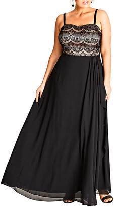 City Chic Eyelash Ebony Lace & Chiffon Gown