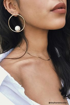 FOREVER 21+ Faux Pearl Hoop Earrings $4.90 thestylecure.com