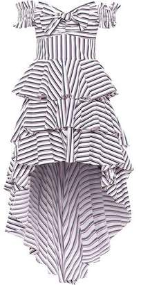 Caroline Constas Artemis Off-the-shoulder Tiered Striped Cotton-blend Poplin Dress