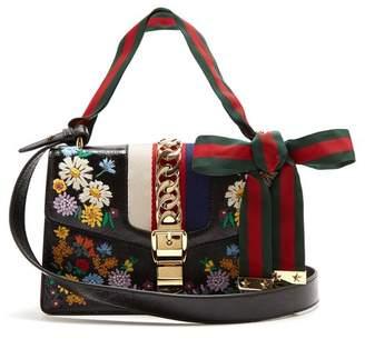 de1feb45a Gucci Sylvie Embroidered Leather Shoulder Bag - Womens - Black Multi