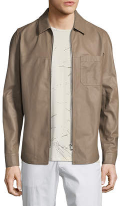 Theory Zip Patch Pocket Leather Jacket