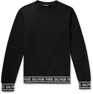 Balmain Logo-Trimmed Loopback Cotton-Jersey Sweatshirt - Men - Black