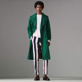 Burberry Striped Cotton Wool Blend Tailored Trousers