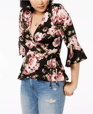 BCX Juniors' Printed Bell-Sleeve Wrap Top