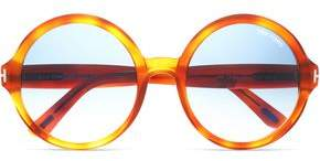 Tom Ford Round-frame Tortoiseshell Acetate And Gold-tone Sunglasses