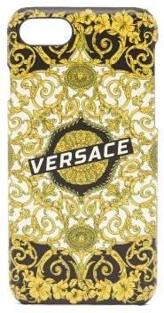 Versace Hibiscus Heritage Print Iphone 8 Case - Mens - Black Gold