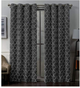 "Exclusive Home Amelia Embroidered Woven Blackout Grommet Top 52"" X 84"" Curtain Panel Pair"