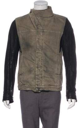 Rick Owens Coated Denim Leather-Trimmed Jacket