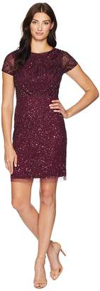 Adrianna Papell Short Sleeve Fully Beaded Cocktail Dress Women's Dress