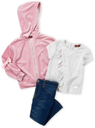 7 For All Mankind Toddler Girls) 3-Piece Velour Hoodie, Tee & Jeans Set