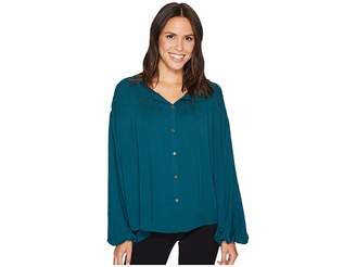 Catherine Malandrino Gathered Yoke Peasant Sleeve Top Women's Blouse