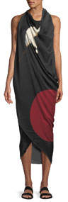 Abstract Brushstroke Print Silk Scarf Dress