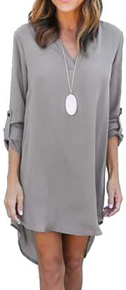 Tasatific Women's Short Dress Long Sleeve High Low Chiffon Shirt Dress L