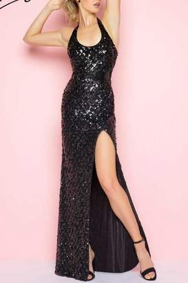 Mac Duggal Sequence Halter Gown