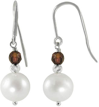 FINE JEWELRY 8-9Mm Cultured Freshwater Pearl And Genuine Garnet Sterling Silver Earrings